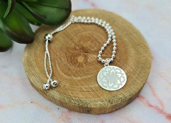 Bracelet argent 925 lien coulissant - pendentif Mandala