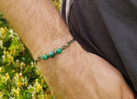 Bracelet cordon réglable et perles de Chrysocolle