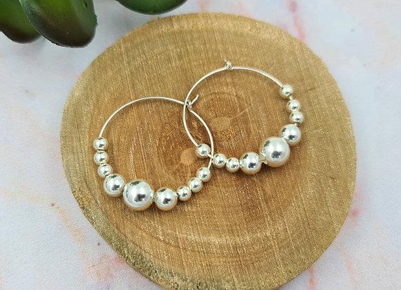 Boucles créoles et perles rondes argent 925
