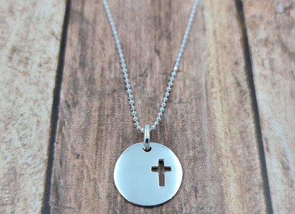 collier court en argent 925 - pendentif croix