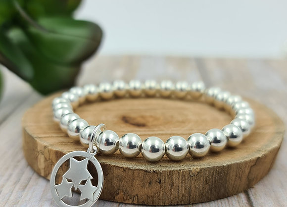 Bracelet argent - Perles 6mm - pendentif étoiles