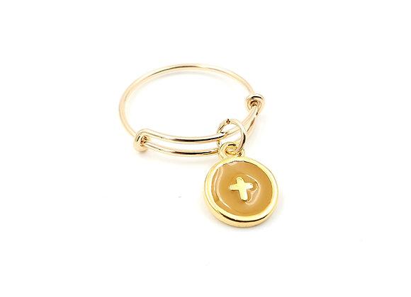 Bague jonc réglable - pendentif ocre jaune  émaillé motif croix