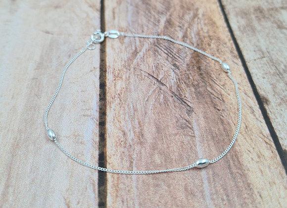Chaîne de cheville argent 925 - Perles ovales