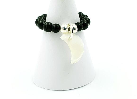 Bague argent 925 et perles d'Onyx - pendentif Lune de nacre