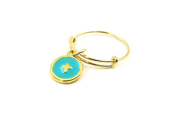 Bague jonc réglable - pendentif turquoise  émaillé motif croix