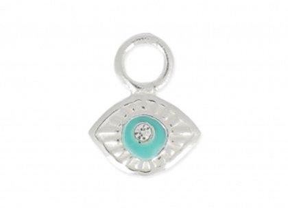 Bracelet cordon  - Pendentif oeil porte bonheur en argent 925