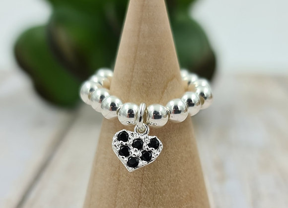 Bague argent 925 - pendentif coeur zircons noirs