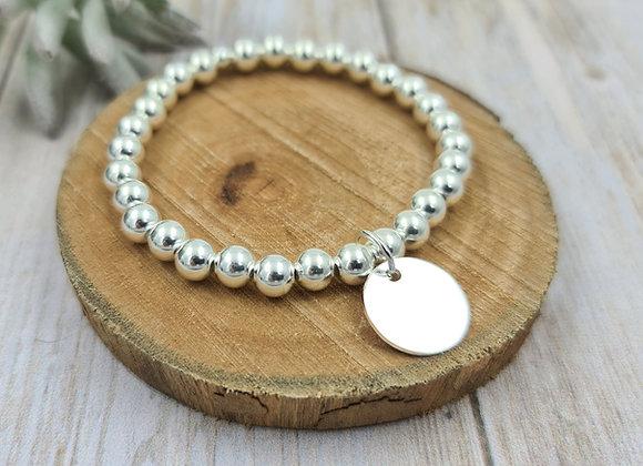 Bracelet argent 925 - perles 6mm - médaille 15mm