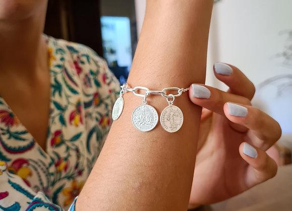 Bracelet argent 5 grands maillons -  3 pièces de 1 franc