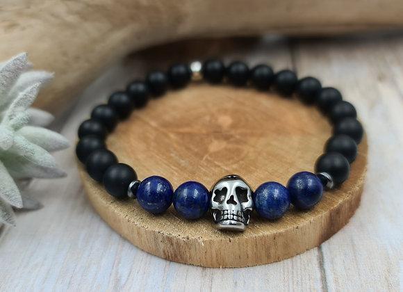 Onyx mat et Lapis-lazuli - tête de mort