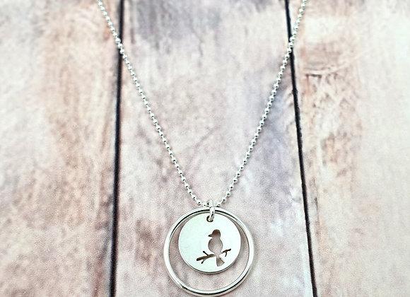 Collier argent 925 - pendentif oiseau sur une branche