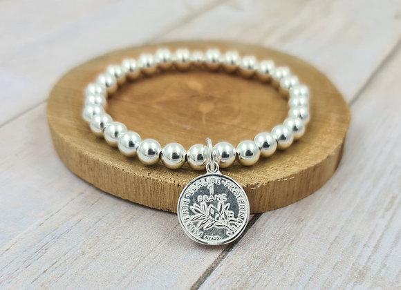 Bracelet argent 925 - perles 6mm pendentif pièce de 1 franc
