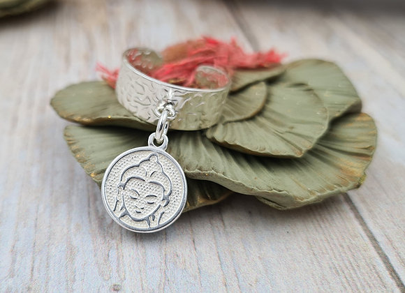 Bague  réglable argent 925 - pendentif tête de Bouddha