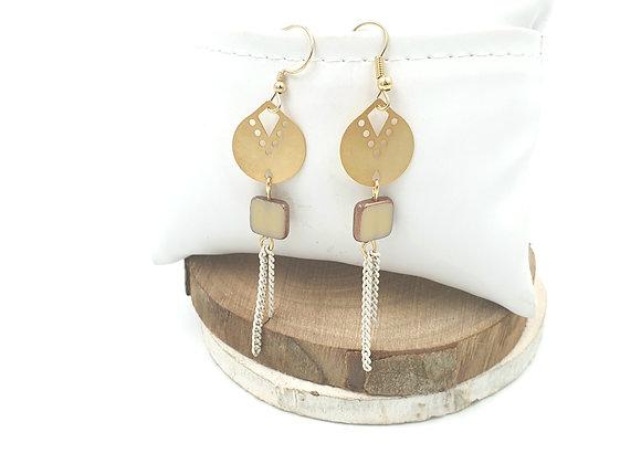 SHANI - Boucles gold filled et perle en verre de bohème blanc