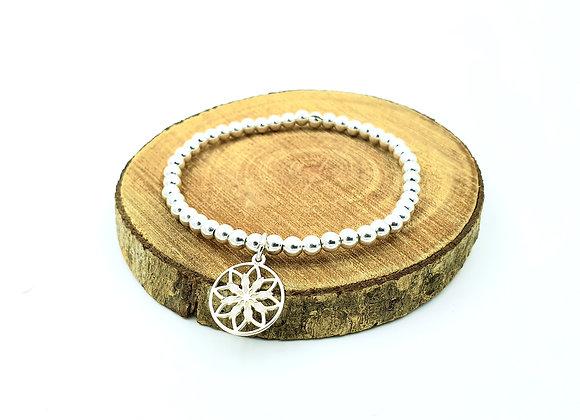 Bracelet argent  - Perles 4mm - pendentif motif rosace
