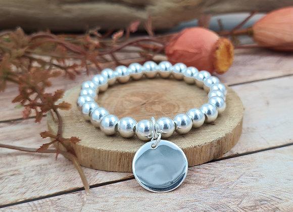 Bracelet argent - Perles 8mm -  pendentif médaille bombée