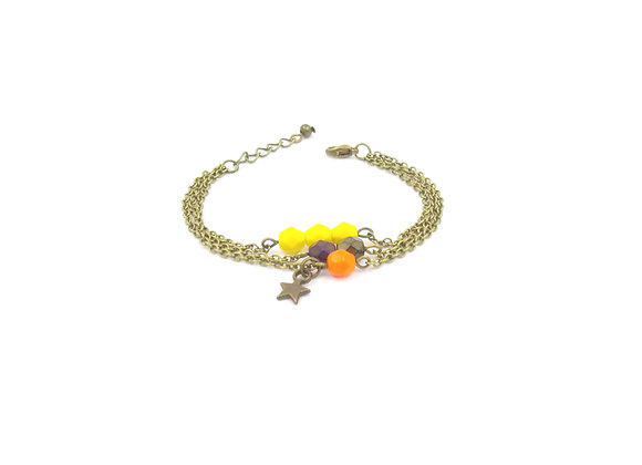 Estrella  - bracelet triple chaîne jaune