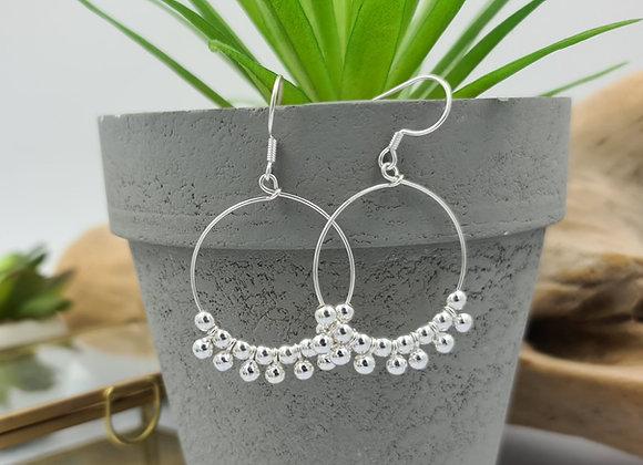 Boucles créoles argent- grappes de perles
