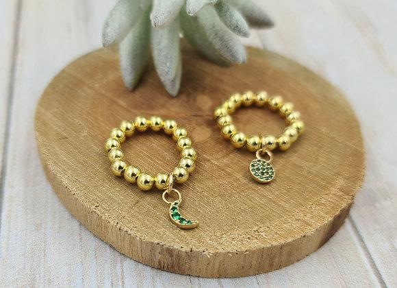 Bague gold filled 1 rang (4mm) - pendentif zircon vert