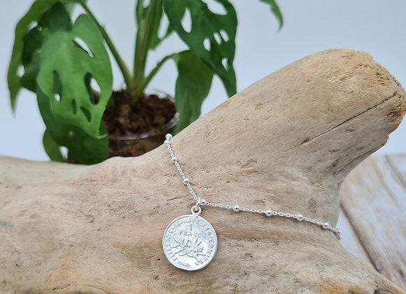 Chaîne de cheville argent 925 - pendentif pièce de 1 franc