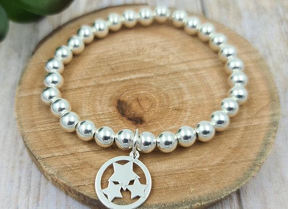 Bracelet argent - Perles 6mm - pendentif 3 étoiles