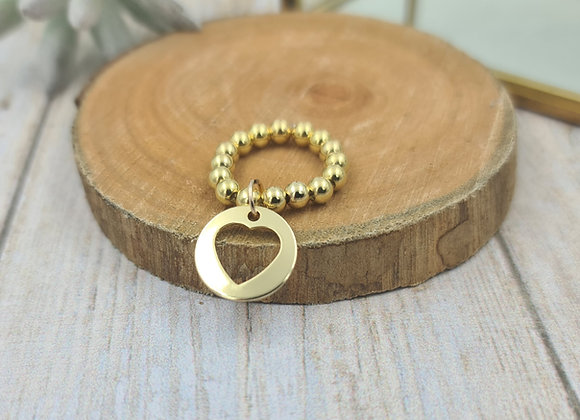 Bague gold filled 1 rang (4mm) - pendentif coeur