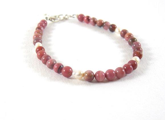 Bracelet argent 925, Rhodonite, perles d'eau douce