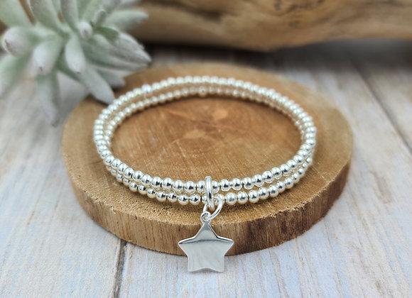 Bracelet 2 rangs argent - Perles 3mm - pendentif étoile