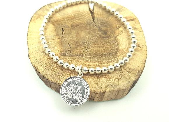Bracelet argent - Perles 4mm - pendentif pièce de 1 franc