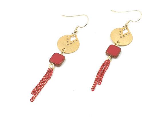 SHANI - Boucles gold filled et perle en verre de bohème rouge