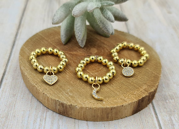 Bague gold filled 1 rang (4mm) - pendentif zircon cristal