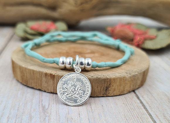 Collection Mademoiselle SVP - bracelet cordon de soie -  pièce de 1 franc