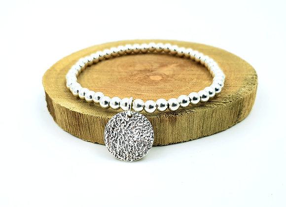 Bracelet argent - Perles 4mm - pendentif rond martelé