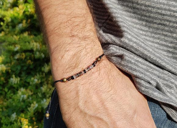 Bracelet cordon réglable et rondelles d'Agates noires et blanches