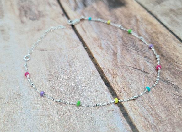 Chaîne de cheville argent 925 - perles multicolores