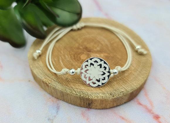 Bracelet cordon  - intercalaire mandala en argent
