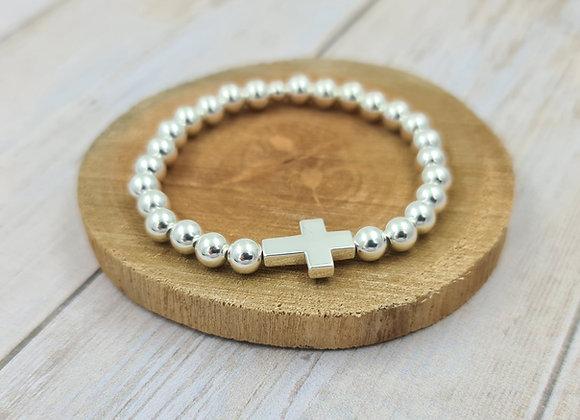 Bracelet argent 925 - perles 6mm intercalaire croix