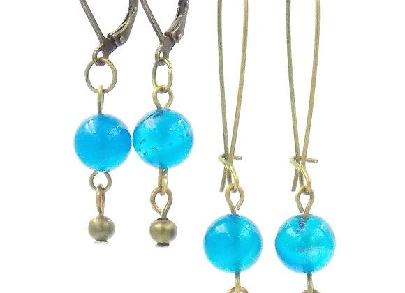 Nine -  Boucles d'oreilles Agate Blue Lace