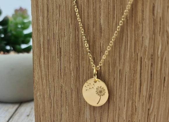 Collier court gold-filled pendentif fleur de pissenlit