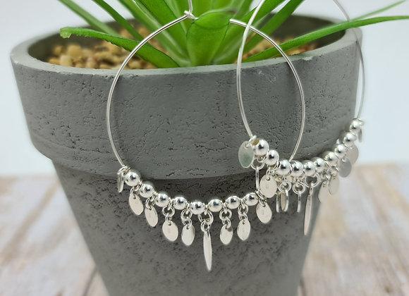 Grandes créoles argent 925 - perles et gouttes ovales