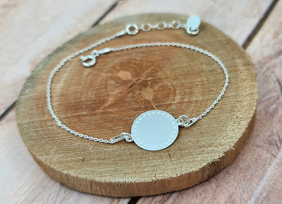 Bracelet chaîne fine argent 925 - intercalaire rond décoré