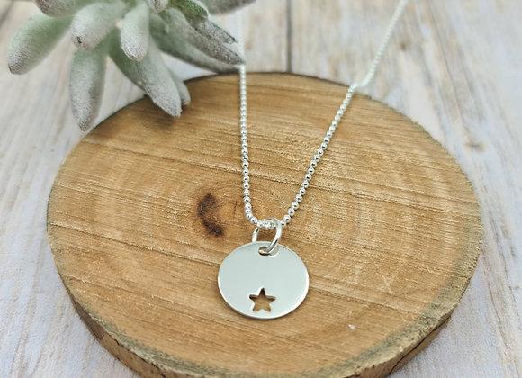 Collier court argent 925 - Chaîne billes - pendentif étoile décalée