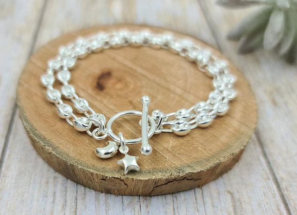 Bracelet double rang chaînes argent 925 et petits pendentifs