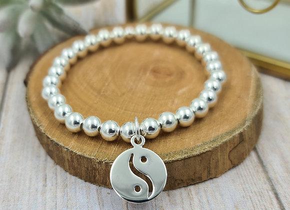 Bracelet argent - Perles 6mm - pendentif Yin et Yang
