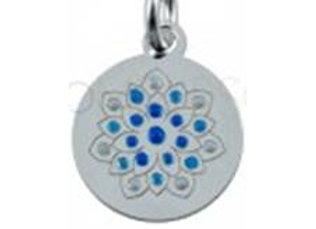 Bracelet cordon  - Pendentif mandala bleu émaillé et argent 925