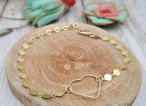 Bracelet gold filled - chaîne minis médailles et intercalaire coeur