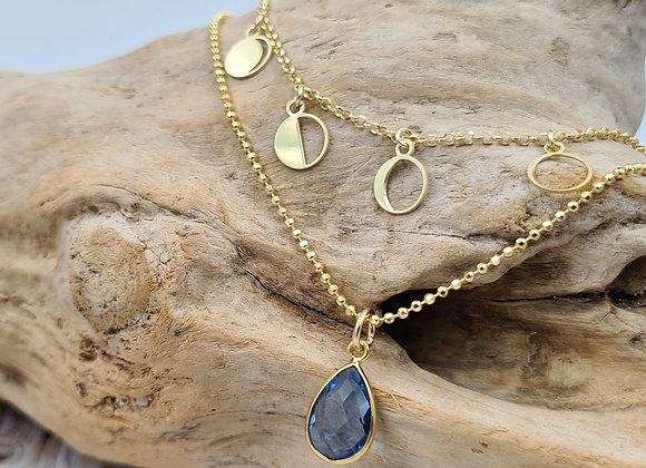Collier double rang gold filled - phases de la lune et pierre de Tanzanite