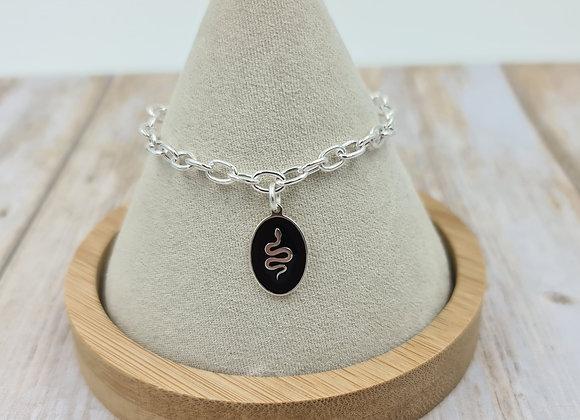 Bracelet mailles argent 925 lien coulissant - pendentif émaillé serpent noir