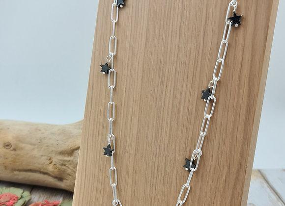 Collier long (80 cm) en argent 925 - petites étoiles hématite