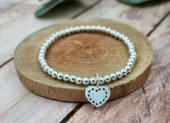 Bracelet argent - Perles 4mm - pendentif coeur